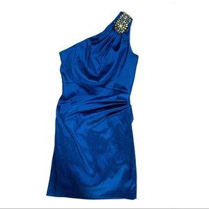 Hayden One Shoulder Embellished Blue Dress